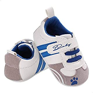 Mix and Max Paw-Print Velcro-Strap Low-Top Lace-Up Shoes for Boys - White and Blue, 0-6 Months