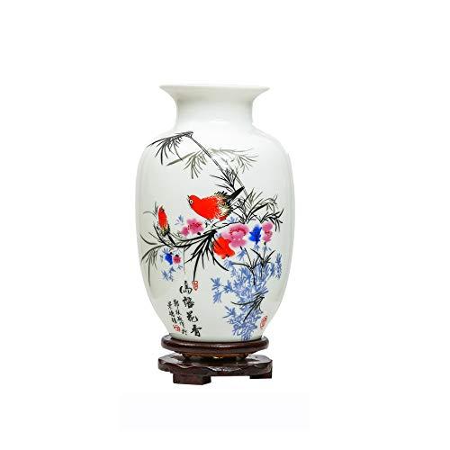ufengke Jing Dezhen Vaso in Ceramica, Vaso Piccolo con Motivi di Fiori E Uccelli, Vaso Nero Vasi Cinesi Vaso Decorativi, per La Famiglia, Ufficio, Matrimonio, Festa