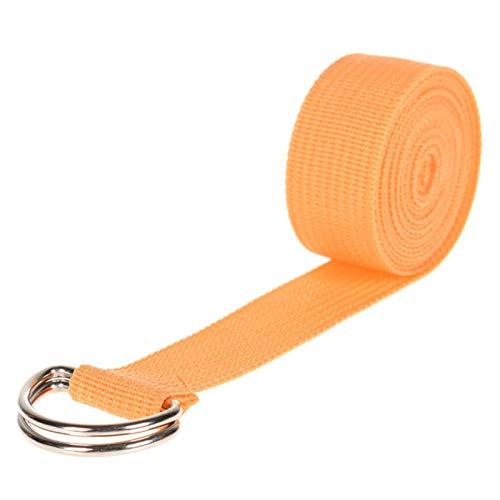 Xuyichangzhishi 180cm Multicolores Yoga Correa elástica D -Ring Belt Fitness Ejercicio Gimnasio Cuerda Figura Cintura Resistencia de piernas Bandas de Fitness Cinturón de Yoga-Naranja