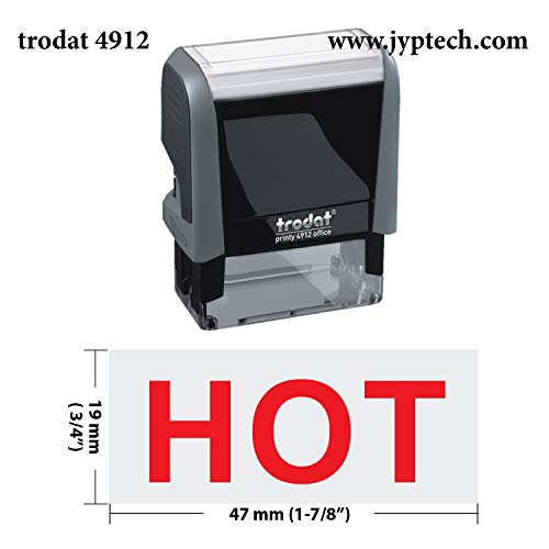Trodat 4912 Self Inking Rubber Stamp w. HOT (H01 Red Ink)