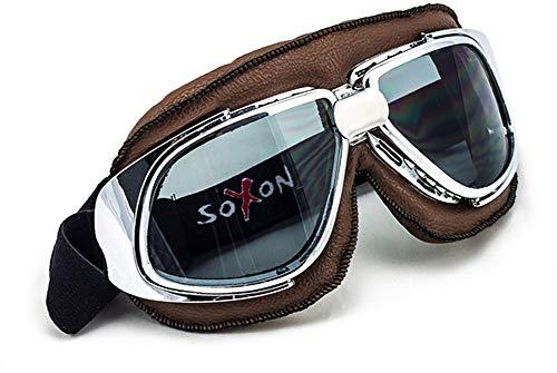 SOXON SG-301 Vintage Vespa Scooter Vliegerbril Beschermende bril Goggles Biker Jet-bril Oldtimer Sport-bril Cruiser Motorfietsbril Pilot Skibril, leren design Aviator Eén maat aviator