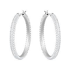 Idea Regalo - Swarovski Orecchini a cerchio Stone, bianco, Placcatura rodio