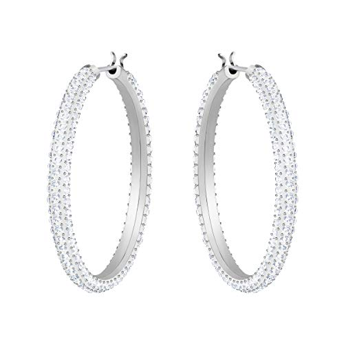Swarovski Women's Stone Hoop Pierced Earrings, Set of Rhodium Plated Hoops with Sparkling Swarovski Crystals, from the Swarovski Stone Collection