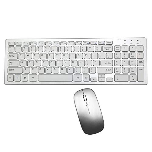 XIANG draadloos toetsenbord en muis, 9060M multimode stille slanke draadloze toetsenbord muis Combo's schakelen tussen Bluetooth en 2.4G aansluiten tot 3 apparaten