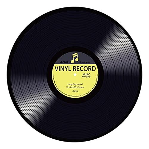 LRWEY Tapis de Sol Rond Tapis de Disque Vinyle Tapis de Chambre à Coucher Tapis Décoratif de Mode (D)