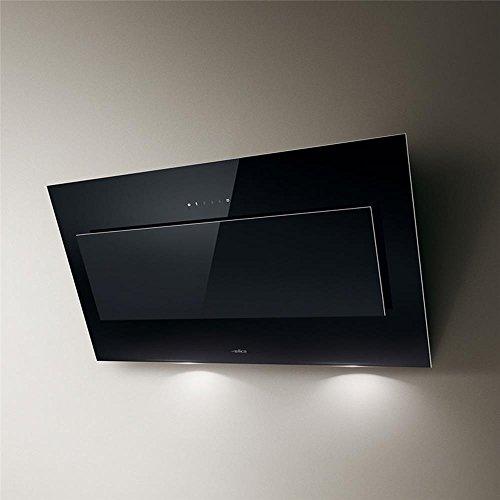 Elica campana extractora de cocina de pared de cristal diseño de espiral psicodélica 120 cm, color negro