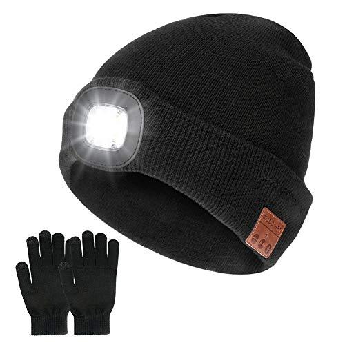 Achort Gorro inalámbrico Bluetooth con linterna frontal LED V5.0, guantes de pantalla táctil, recargable por USB, gorro de música, lavable, para hombres y mujeres, correr, esquí, senderismo, camping