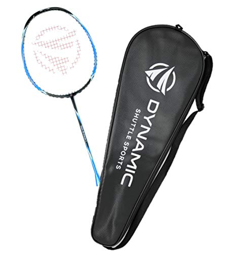Titan G-Force 7 Professional Carbon Fiber Badminton Racquet, Lightweight Badminton Racket Including Cover (Blue)