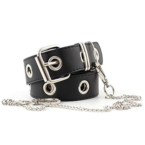 BESTZY Moda Cintura Cintura Ragazza Catena Cintura Pantaloni Cintura Punk Nero per Pantaloni Delle Ragazze-110 cm