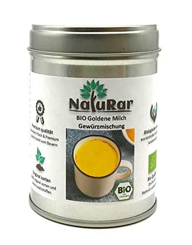 BIO Goldene Milch Gewürzmischung vom NatuRar 80g Aromadose   Golden Milk   Kurkuma Latte   Original Ayurvedische Rezept   aus 100% Bio Zutaten Hergestellt   Ohne Zucker