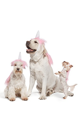 Pink Unicorn Costume For Dogs Pups Mane & Horn Headdress Wig Pet Dress Up Party (Small, Pink)