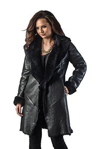 A & A Vesa - Merino Lammfell moderner Mantel, für Damen, 100% natürliches Schaffell Merino, lässiger Stil, Winter - Frühling - Herbst (40, Schwarz)