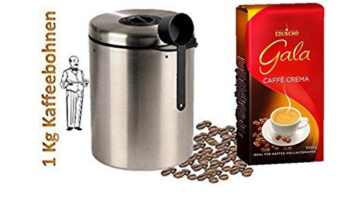 Eduscho Gala Cafe Crema + Edelstahldose für 1 kg Kaffeebohnen Neu mit Silicabag von Conny Clever® zur Erhaltung der Aromastoffe von James Premium®