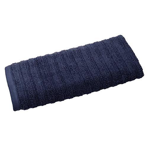 iDesign handdoek, kleine handdoek met strepenstructuur van katoen, zachte en absorberende gastenhanddoek met hanger voor wastafel en gastentoilet, beige