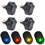 Interruptor basculante Led ON-OFF, 30 A/12 V, 4 colores (rojo, verde, amarillo, azul), paquete de 8 unidades