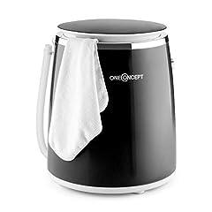oneConcept Ecowash-Pico Edition 2020 Mini Tvättmaskin Camping Tvättmaskin (Toploader med slangbella funktion för 3,5 kg tvätt, 380 watt, energi och vattenbesparing, timer) svart