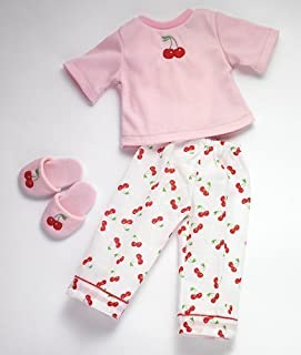 "Cherry Dreams 18"" Dolls Pj and Slippers Fits American Girl"