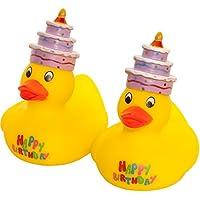 MC-Trend Happy Birthday Patito de goma pato quietscheente Cumpleaños con texto pasteles tarta en la cabeza