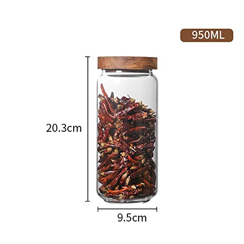 FANXQ Tapa de Madera de Botellas de Vidrio hermético Frasco de Almacenamiento de Cocina Frijoles frascos de Comida para contenedores Granos Granos de café té Caramelo contenedores Jar,0.95L