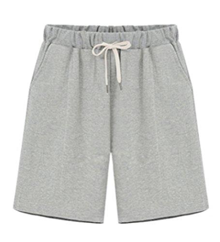 Blansdi Damen Sommer Beiläufig Sport Kurz Hosen Gerades Bein Traininghose Shorts Baumwolle Jogginghose mit Kordelzug Schwarz Grau