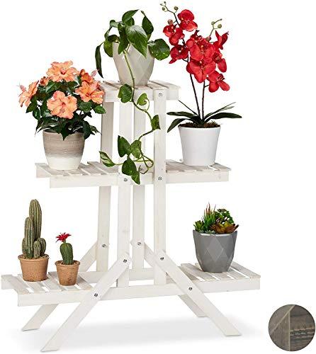 ZXL Indoor Plant Stand, Flower Display Houder, 3 Tier Folding Plant Stand Planken Tuin Houten Bloem Pot Display Ladder - Bloementrap voor Home Decor (84 * 25 * 84CM)