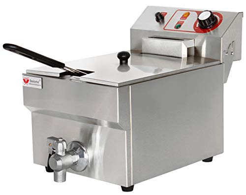 Beeketal 'BTF10B' Kaltzonen Fritteuse (9 Liter Volumen für max. 6 Liter Öl) Edelstahl Friteuse mit Temperaturkontrolle und Fettablaufhahn