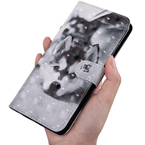 Último 3D Shinning Pintado Husky Patrón Billetera Funda de Cuero para OnePlus RedMi XiaoMi Moto para Samsung Galaxy Huawei Honor Sony para iPhone LG Nokia (Samsung J4 Plus)