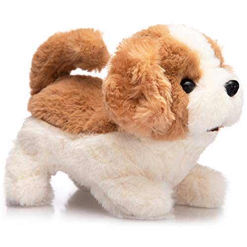 HollyHOME Plush Beagle Electronic Interactive Toy Walking,Barking,Wagging Tail,Stretching Puppy Dog 7 Inches Gifts for Kids