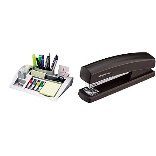 3M Post-it C50 - Organizador de escritorio – Incluye 1 bloc de notas, 4 x 35 Marcadores Index y 1 cinta adhesiva Scotch Magic – Dispensador de notas + AmazonBasics - Grapadora con 1000 grapas