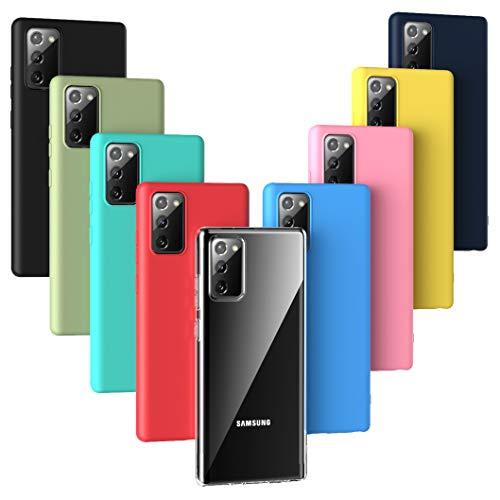 Oududianzi - 9X Cover per Samsung Galaxy Note 20, [Serie Arcobaleno] Custodia Morbida Opaca in Silicone TPU [ Trasparente + Nero + Rosa + Blu Scuro + Rosso + Verde Menta + Giallo + Verde + Blu ]