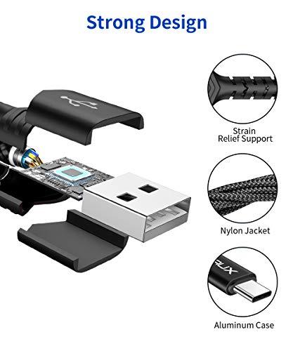 JSAUX USB C Kabel [2 Stück 2M ] Nylon Typ C Ladekabel für Samsung Galaxy S10 S9 S8 Plus,Note 10 9 8,A3 A5 2017,LG G5 G6 V20,HTC 10 U11,Sony Xperia XZ Xa1, Huawei P30 P20 Mate 20 Lite P10 P9 (Schwarz)