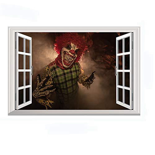 Home Find Halloween Scary Clown Window Decorations Decals 3D Fake Windows Stickers Scary Horror Wall Decals Vinyl Art Murals for Kids Rooms Nursery Halloween Party 27.6 inches x 19.7 inches