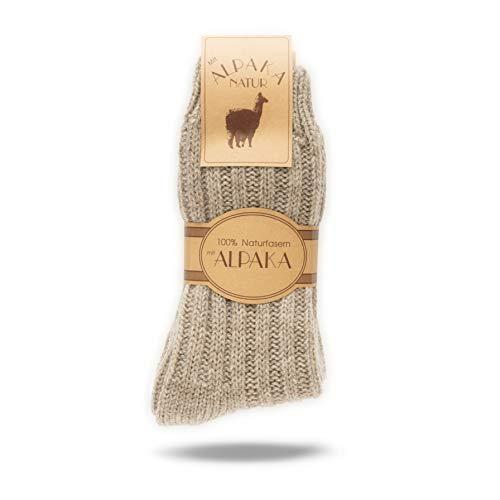 2 Paar Alpaka Socken für Damen & Herren, Wollsocken mit warmer Alpakawolle, 100prozent Naturfasern (Beige, 43-46)