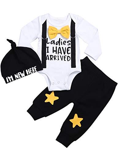Ropa de bebé recién Nacido Hipster Bowtie Strap Sweatsuit Mameluco de Manga Larga + Pantalones 2 Piezas Conjunto de Trajes