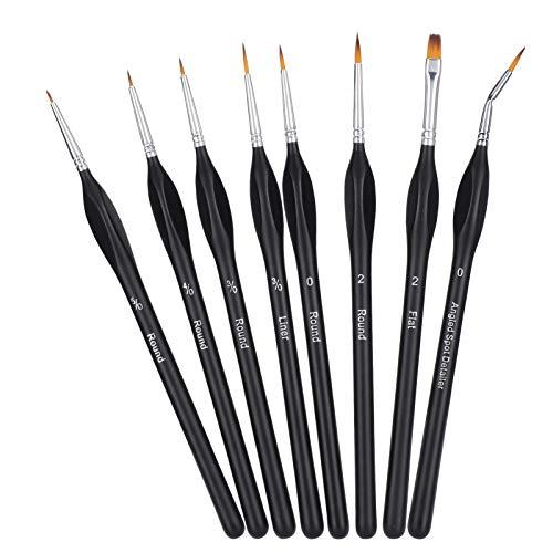 Conjunto de cepillos de Pintura de 8pcs, Proceso de Empalme del Eje del Eje de la Textura de la Interfaz de la Textura de la Textura de la Textura del Nylon Hecho de Madera y Cabello de Nylon para el