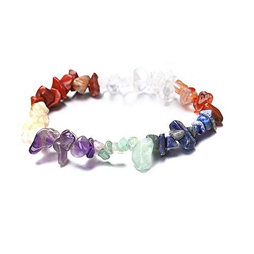 FWQW 7 Chakra Irregular Natural Stone Crystal Strand Bead Bracelets Elasticated Bracelet for Women Party Jewelry