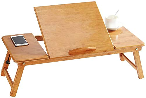 Lengthen Folding Bamboo Lapdesk Portable Overbed Table Computer Table Desk...