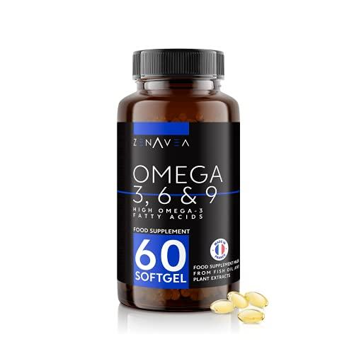 Complemento Alimenticio Omega 3 6 9-60 Omega 3 6 9 Capsulas Fáciles de Ingerir - Pastillas de Aceite de Pescado con Extractos de Plantas - Fabricado en Francia - Zenavea