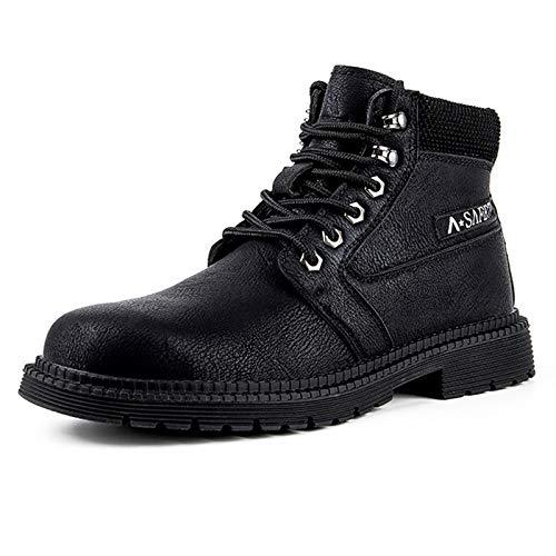 Dxyap Invierno Botas de Seguridad Hombre Mujer Botas Tobillo Aire Libre Zapatillas Altas con Puntera de Acero Impermeables Botas de Nieve Zapatos de Trabajo Entrenador Unisex de Senderismo,Negro,47EU