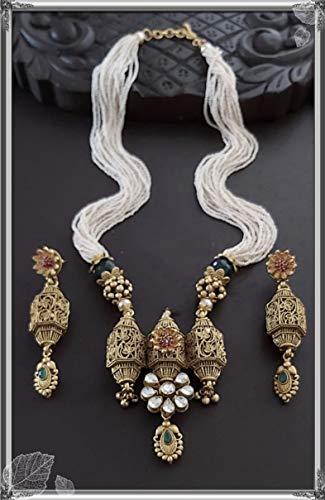 Elaborar con amor un combo de hermoso collar colgante colgante de latón/collar con un par de pendientes hermosos/elegantes.