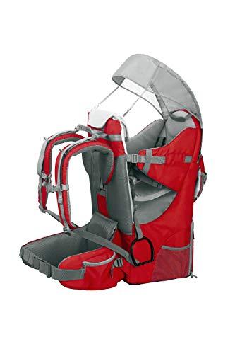 Zaino Porta Bambino Portabebè Ergonomico imbottito, protezione solare, cintura, trekking montagna città (Rosso)