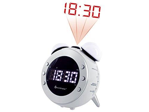 Soundmaster UR140WS UKW Uhrenradio, Projektion, dimmbares Nacht-, Aufwachlicht
