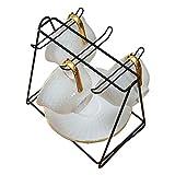 Mug Holder Countertop or Pantry Vintage Metal Stand for Kitchen Cabinet-Mug and Plate Holder-Black