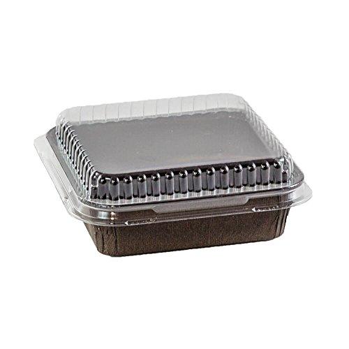 4 x 4' Brown Baking Pan with lid- 20 sets Square Disposable Baking Tins pan For Baking,