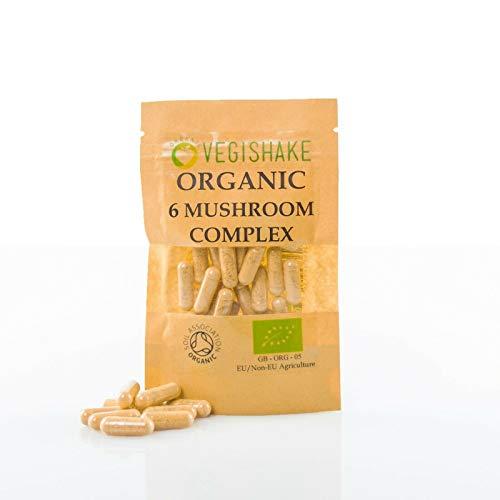 Organic 6 Mushroom Complex Chaga Cordyceps Shiitake Reishi Lions Mane Maitake (30 Capsules)