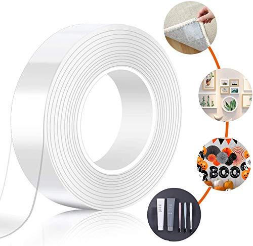 ナノテクノロジー両面テープ 超強力多機能テープ 魔法テープ のり残らず はがせるテープ とうめい 防水する 洗濯で繰り返し利用可能 滑り止めテープ 耐熱 粘着マット家庭 オフィス 寮 学校 会社 工業用 屋内 屋外 車輛用(3mx2cmx1mm) (3M)