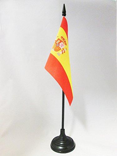 AZ FLAG Bandera de Mesa de ESPAÑA 15x10cm - BANDERINA de DESPACHO ESPAÑOLA 10 x 15 cm