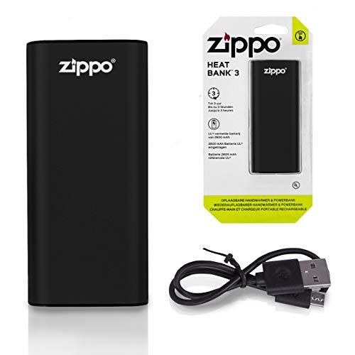 Zippo 2005825 Rechargable Handwarmer and Powerbank HeatBank 3-Black (DE/NL/FR), Aluminium und Kunststoff, Schwarz