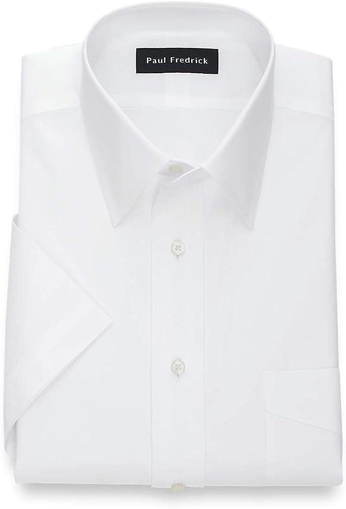 Paul Fredrick Men's Pinpoint Straight Collar Short Sleeve Dress Shirt