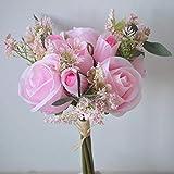 Amn White Roses Bouquet de fleurs artificielles de mariée en soie artificielles Fausses fleurs Décoration de table Saint-Valentin Rouge rose bonbon